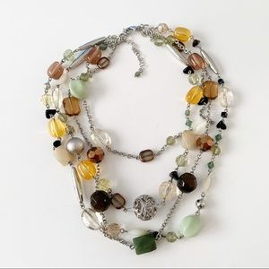 Lia Sophia Multistrand Glass Bead Necklace Silver